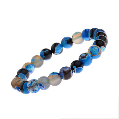 $6.49 • Buy 8mm Natural Stone Blue Beads Women Men's Bracelets Charm Jewelry Birthday Gift