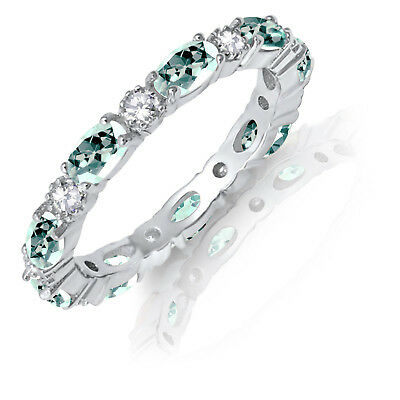 £57.34 • Buy Oval Aquamarine CZ Eternity Stackable And Round Clear CZ Genuine Silver Ring