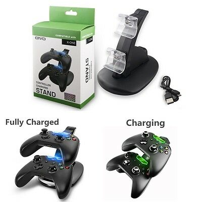 LED Light Dual Controller Charging Dock Station Charger Xbox One /S Controller • 6.95$