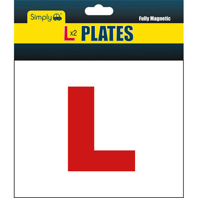 2 X FULLY MAGNETIC L PLATES SECURE Quick Easy To Fix Learner Sign • 1.99£