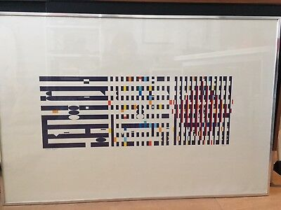 $485 • Buy Agam B.1928 Signed A.P.  Three Movements  Serigraph Geometric Abstract Triptych