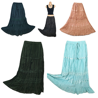 Crinkle Cotton Skirt Lined Lace Boho Hippie Summer Beach Holiday 8 10 12 14 16 • 9.99£