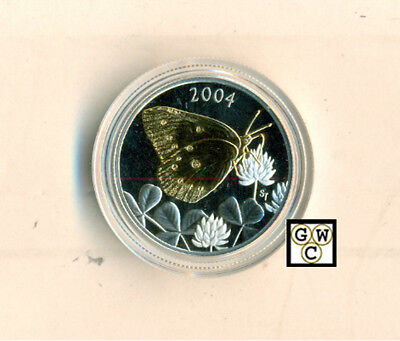 $23.79 • Buy 2004 Butterfly Gold-Plated Clouded Sulphur 50ct Silver Coin  (11242) (OOAK)