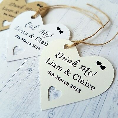 £4 • Buy  Personalised Wedding Favour Heart Shaped Gift Tags Eat Me Or Drink Me + Twine