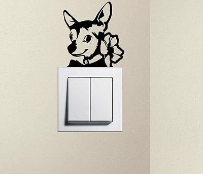 Designer - Cute Dog Chihuahua Pet Light Switch Decals Wall Stickers 12cm X 10cm • 1.48£
