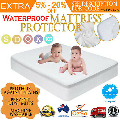 AU40.44 • Buy Luxury Bamboo Mattress Bed Matress Protector Waterproof Bug Cover Bed Wetting