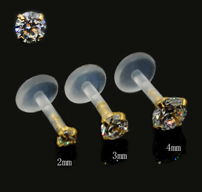 £3.99 • Buy Prong Set Clear Stone In Gold Push In Bioflex Labret Stud Lip Tragus Helix Ear