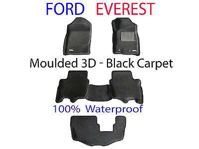 AU1099 • Buy Fits Ford Everest 2015 - 2020 3D Black Carpet Car Floor Mats