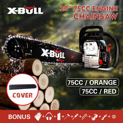 AU129 • Buy X-BULL 75cc Petrol Chainsaw 20 Bar E-Start Pruning Red Chain Top Handle Cordless