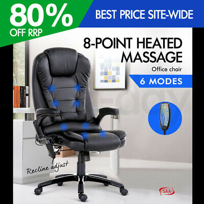 AU272.95 • Buy 8 Point PU Leather Reclining Massage Chair - Black