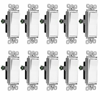 3-Way On/Off Light Switch   15 Amp, 3 Wire, UL Listed   White • 19.98$
