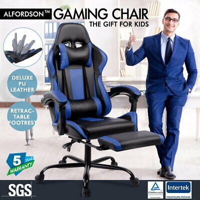 AU159.95 • Buy ALFORDSON Gaming Office Chair Executive Racing Footrest Seat PU Leather Blue