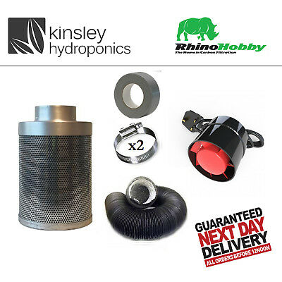 Rhino Hobby Carbon Filter Kit Odour Extraction Fan Combi Ducting Hydroponics • 74.99£