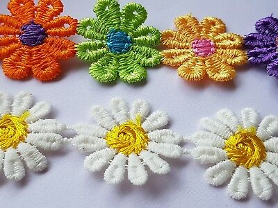 £2.45 • Buy 1 Yard EMBROIDERED FLOWER RIBBON-TRIM-APPLIQUE MIXED Approx 30 Flowers At 25MM
