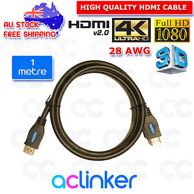 AU6.69 • Buy  Premium HDMI Cable V2.0 Ultra HD 4K 3D 28 AWG High Speed Ethernet 1M 3M 5M 10M