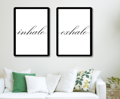 Inhale Exhale Quote Phrase Wall Print Typography Home Decor Motivational • 7.99£