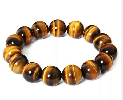 $0.99 • Buy 8mm Natural Stone  African Roar Natural Tiger's Eye Round Beads Bracelet 7.5''BT