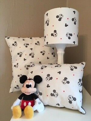 SHOP Mickey Mouse Heads Range Of Curtains/Cushions/Lampshades In White • 14£