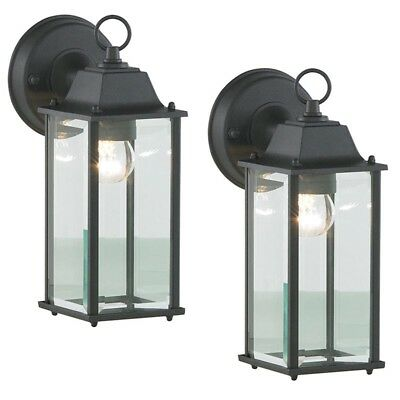Litecraft Pack Of 2 Outdoor Bevelled Glass Garden Wall Lantern Light In Black • 28.99£