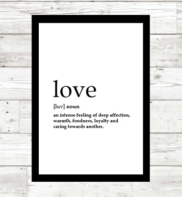 Definition Wall Print Typography Love Family Brother Sister Personalised • 4.99£