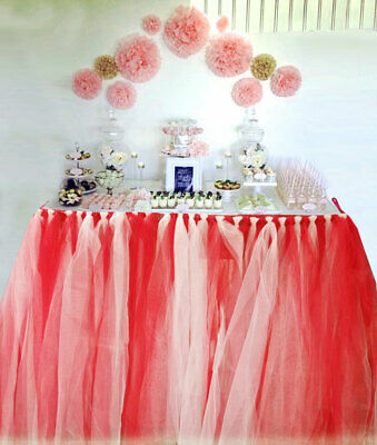 Handmade Table TuTu Skirt Table Cloth For Parties/Table Decoration Red Whit  • 16.85£