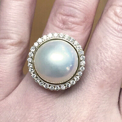$1147.50 • Buy 16 Mm Cultured Mabe Japanese White Pearl & Diamond 14k White Gold Cocktail Ring