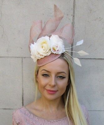 Cream Nude Blush Pink Rose Flower Feather Hat Fascinator Races Wedding Hair 5902 • 32.95£