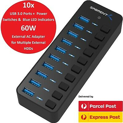 AU135 • Buy Sabrent 10 Port 60W Powered USB 3 Data Hub For External HDD Mac IMac PC Surface