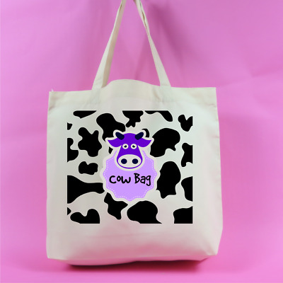 Cow Bag Cow Print Large Tote Bag Funny Bag Animal Lover Cow Lover Funny Gift • 9.99£