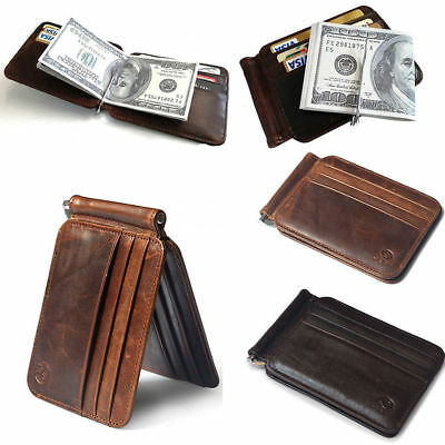 $11.99 • Buy Slim Thin Mens Leather Wallet Money Clip Credit Card ID Holder Front Pocket