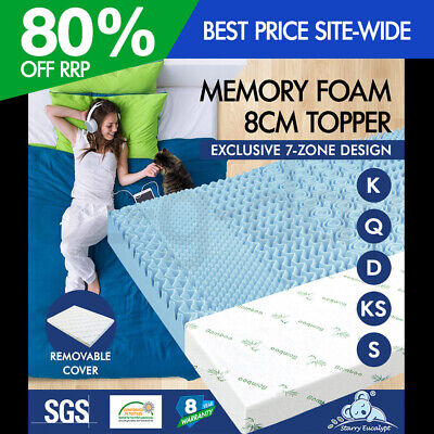 AU119.95 • Buy Memory Foam Mattress Topper 7 Zone Cool Gel With BAMBOO FABRIC COVER Bed 8cm SE