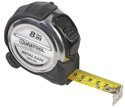 Stainless Steel Cased Tape Measure, 8m - DURATOOL • 11.59£