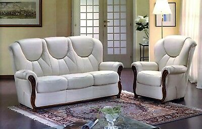 Real Italian Leather Full Three Piece Suite 3+1+1 From Italy 3 Seater & 2 Chairs • 1,089£