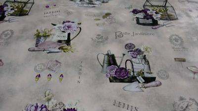 French Garden Grey PVC Vinyl Wipe Clean Oilcloth Tablecloth • 17.49£