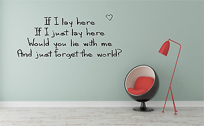 If I Lay Here Chasing Cars Lyrics Quote Transfer Wall Decal Sticker Room NQ69 • 7.99£