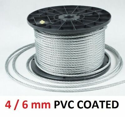 6mm Galvanised Steel Clear PVC Plastic Coated Wire Rope Boat Gym Washing Per M • 1.48£