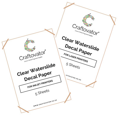 CLEAR Water Slide Decal Paper INKJET & LASER A4 Waterslide Transfer Sheets Packs • 56.45£