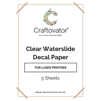 CLEAR Water Slide Decal Paper LASER A4 Waterslide Transfer Sheets Packs • 59.95£