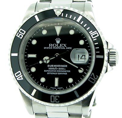 $ CDN10362.98 • Buy Mens Rolex Submariner Date Sub Stainless Steel Watch W/ Black Dial & Bezel 16610