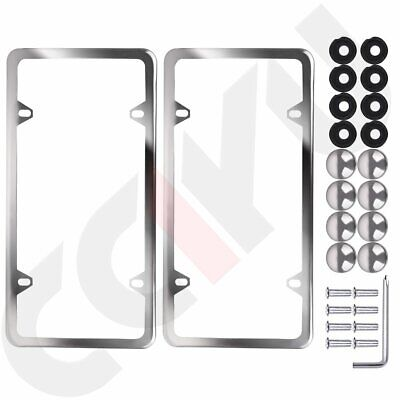 $8.89 • Buy 2x Slim Silver Stainless Steel License Plate Plate Frame+a Set Of Screw Package