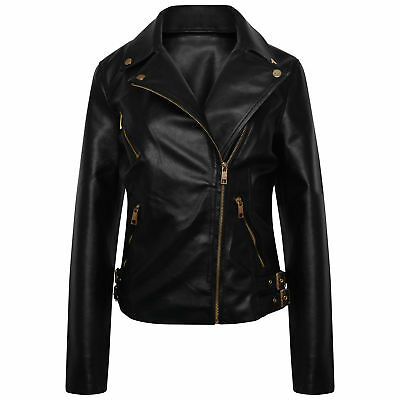 £28.99 • Buy Women's Leather Look PU Jacket With Gold Style Trims (Sizes 6-24)