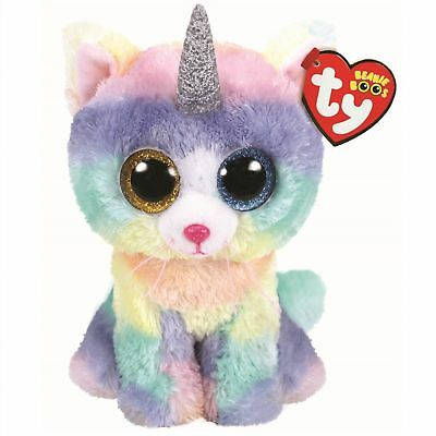 ec099772ea0 2018 Ty Beanie Boos 6 HEATHER Unicorn Cat Stuffed Animal Plush W  Ty Heart  Tags