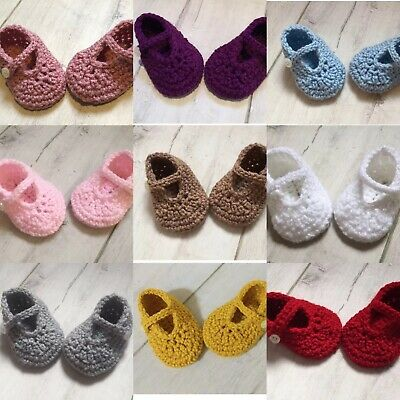 Handmade Crocheted/Knitted Baby Girls Booties / Mary Jane Shoes 0-3 Months • 4.99£
