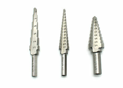 $34.99 • Buy TEMO 3pc M35 Cobalt HSS Step Drill Set Two Flute Total 28 Sizes 1/8 -3/4