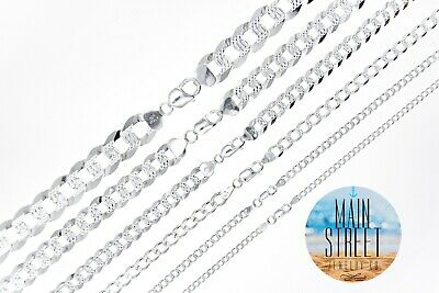 $220.95 • Buy  ITALY 925 SOLID Sterling Silver Diamond Cut CURB Chain Necklace Or Bracelet