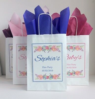 Personalised Hen Party Gift Favour Bag Paper Pink Vintage Flower • 0.99£