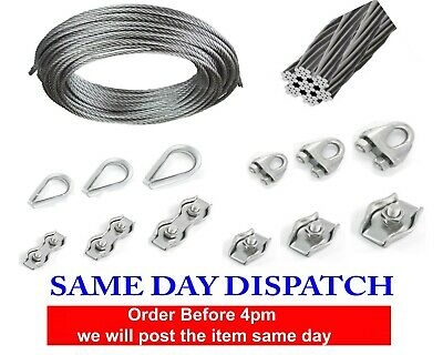 Wire Rope Cable Clamp Simplex Duplex Thimble Marine Grade 316 Stainless Steel • 2.95£