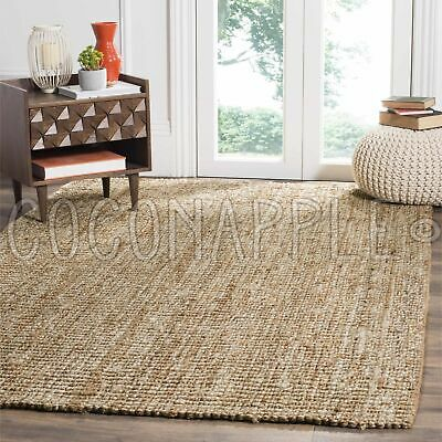 AU97.46 • Buy Surat Natural Woven Jute Beige Chunky Floor Rug - 7 Sizes **FREE DELIVERY**