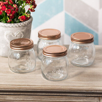 Set Of 4 X 260ml Vintage Glass Jars With Copper Coloured Lids Herb Spice Storage • 10.99£