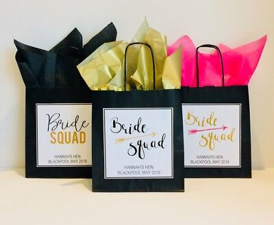 Personalised Hen Party Gift Favour Bag Paper Black Gold Bride Squad **LARGE** • 1.30£